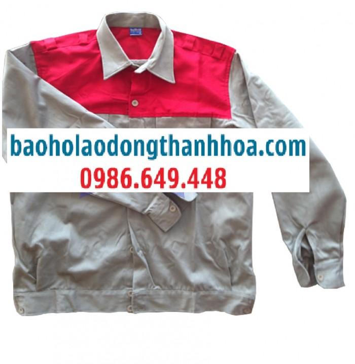Đồng phục công nhân phối màu đỏ